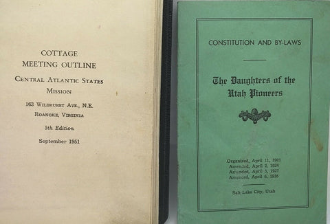 rare LDS Cottage Meeting Outline Constitution By-Laws Daughters Utah Pioneer VTG
