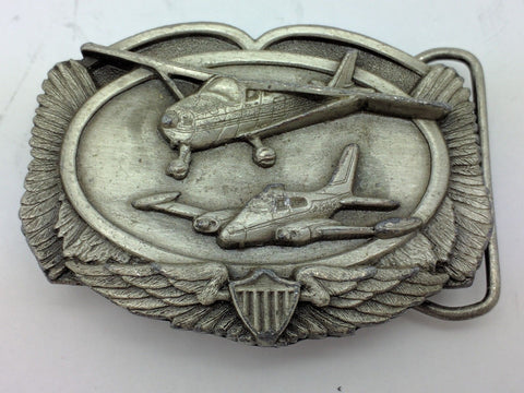 AIRPLANE PLANE AVIATION PILOT WINGS SHIELD BELT BUCKLE SISKIYOU 1983 VTG cesna?