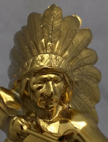 "12"" ARCHER INDIAN CHIEF TROPHY Archery award metal VTG FAUX Gold Marble Statue"