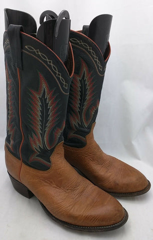 10 Stitch Tony Lama 6184 Taurus Leather Western Cowboy Boots PECAN Men's  9.5 D