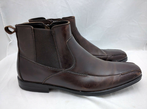 Stacy Adams Classy Brown Men's Leather Zippered Ankle Stretch Boots Size 8.5 M