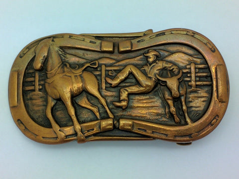 Western Copper Belt Buckle Leavens MFG Rodeo Steer Wrestling Cowboy Horse VTG