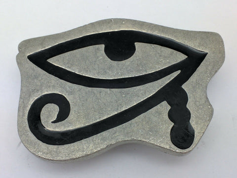 Egyptian Eye of Ra Horus Udjat King Tut Tutankhamun Belt Buckle Egypt Signed RL