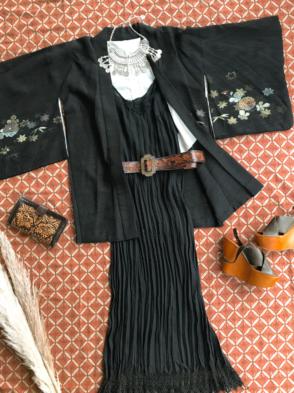 Vintage Pleated Full Length Dress