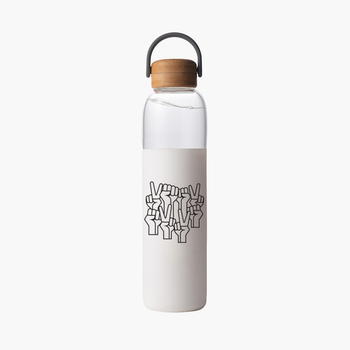 Power In Voices Glass Water Bottle