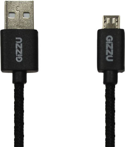 Gizzu Micro 2m USB Braided Cable - Black