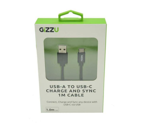 Gizzu USB2.0 A to USB-C 1m Cable - Black