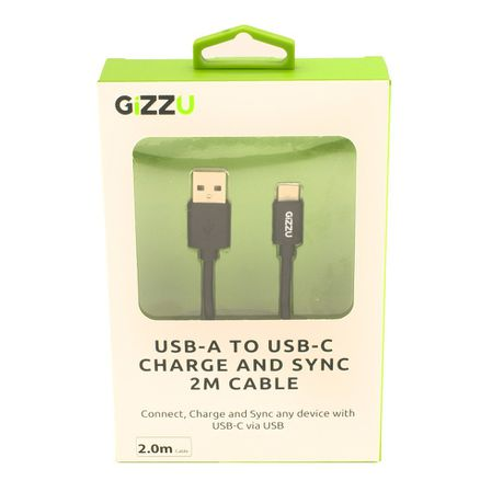 Gizzu USB2.0 A to USB-C 2m Cable - Black