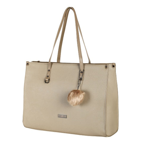 Supanova Pompom Ladies Laptop Bag - Taupe