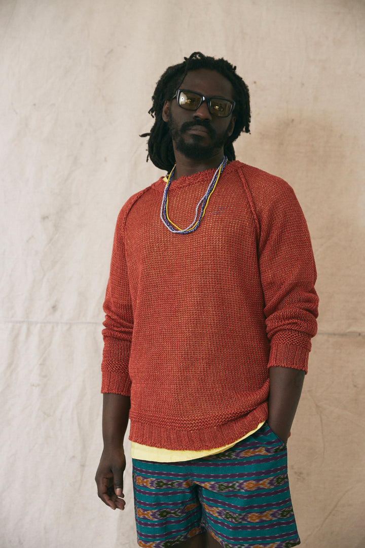 HEMP RAGLAN CREWNECK SWEATER - MADDER RED MOULINE