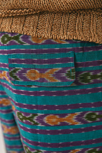 BOOTH DRAWSTRING SHORTS - TEAL/ PURPLE IKAT