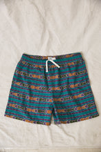 Load image into Gallery viewer, BOOTH DRAWSTRING SHORTS - TEAL/ PURPLE IKAT