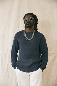 HEMP RAGLAN CREWNECK SWEATER - INDIGO MOULINE