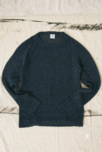 Load image into Gallery viewer, HEMP RAGLAN CREWNECK SWEATER - INDIGO MOULINE