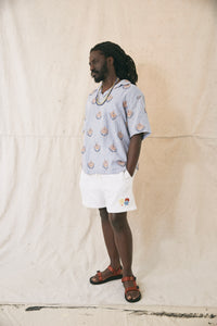 BILAL WOVEN POLO SHIRT- BLUE HAND EMBROIDERED KHADI LINEN