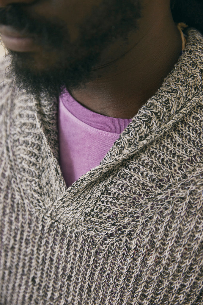 FAIRLEE SHAWL PULLOVER - BLACK / SAND / NATURAL LINEN