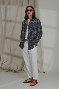 MANDU JUNGLE JACKET - NAVY IKAT
