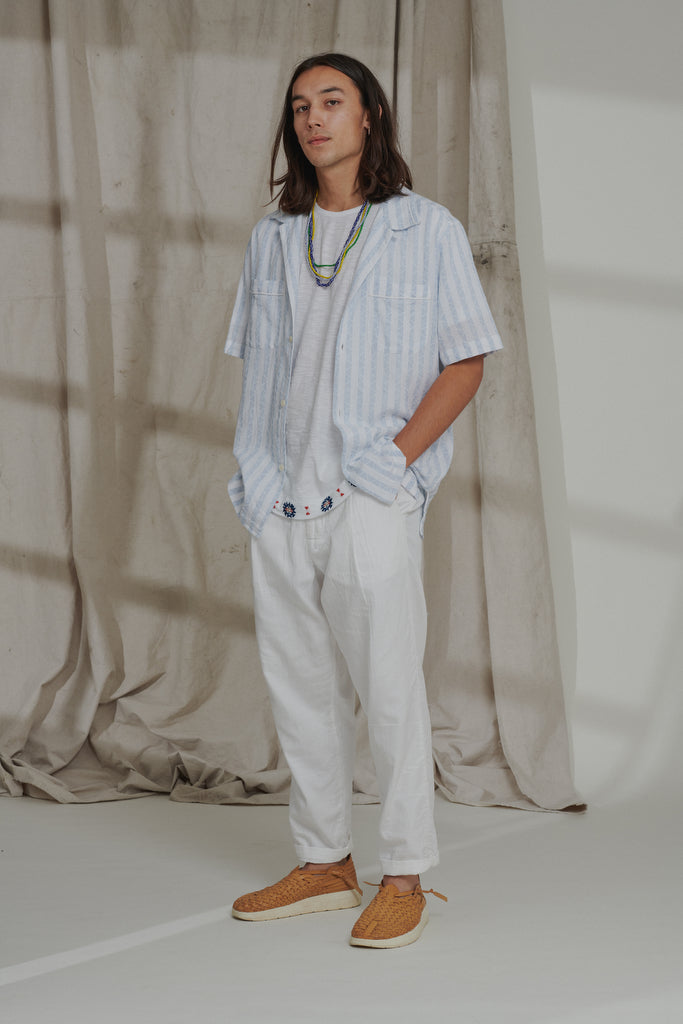 "VITO SHORT SLEEVE PAJAMA SHIRT - WHITE ""REAPPROPRIATED"" KHADI"