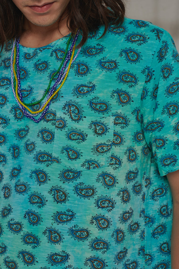 HAND-BLOCK PRINTED TEE - BLUE HAWAIIAN OVERDYED PAISLEY