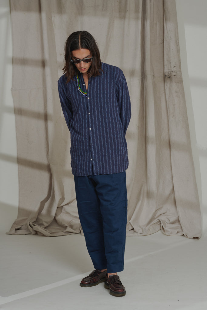 SINGLE PLEAT CHINO - NAVY GAUZE BACK HERRINGBONE