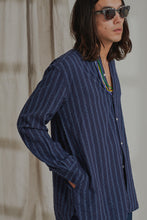 "Load image into Gallery viewer, ANDREW BAND COLLAR SHIRT - NAVY ""REAPPROPRIATED"" KHADI TRIANGLE STRIPE"