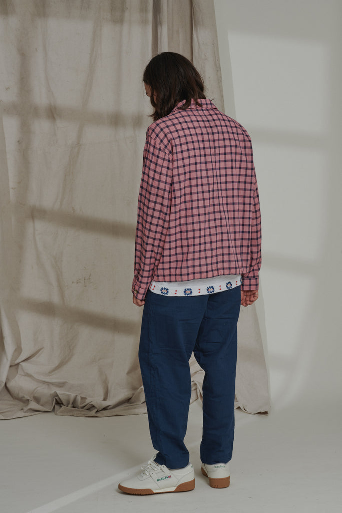 CAM SHIRT JACKET - NAVY / MADDER KHADI CHECK