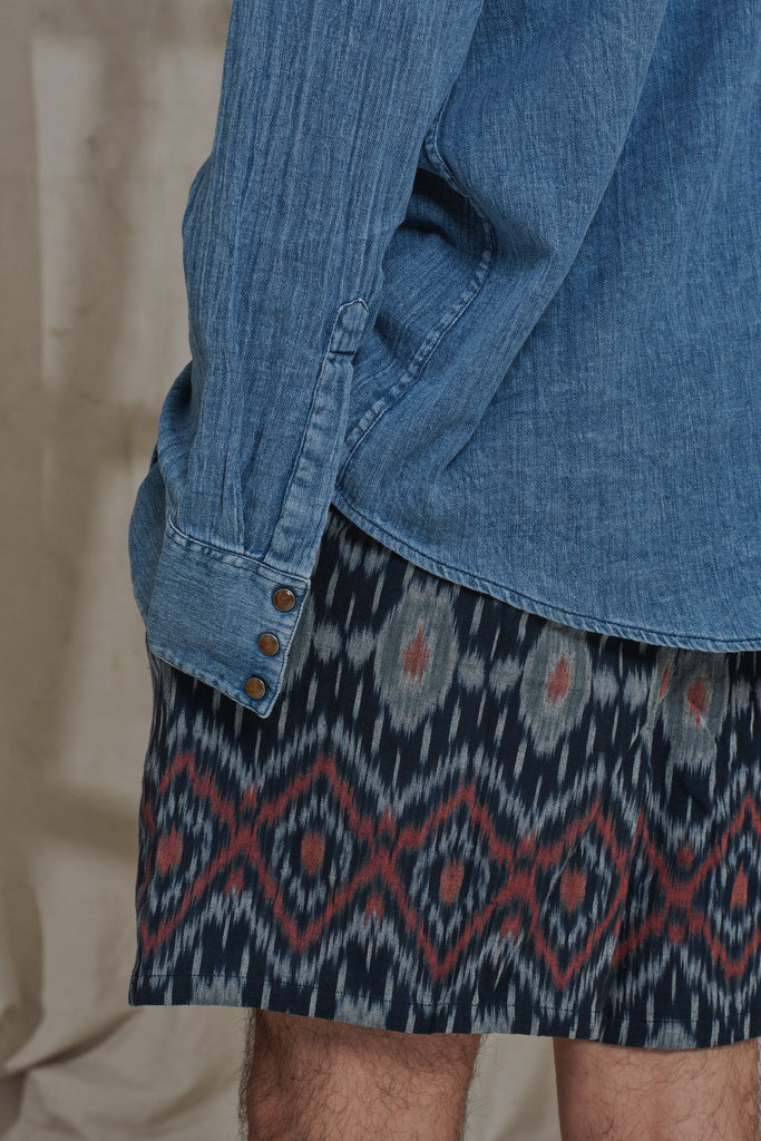BOOTH DRAWSTRING SHORTS - NAVY / MADDER IKAT