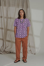 Load image into Gallery viewer, HAND-BLOCK PRINTED TEE - LAVENDAR OVERDYED PAISLEY