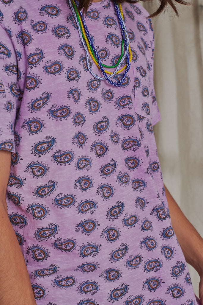 HAND-BLOCK PRINTED TEE - LAVENDAR OVERDYED PAISLEY