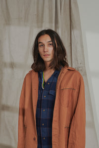 WESTERN CHORE COAT - OCHRE OVERDYED KHADI DENIM