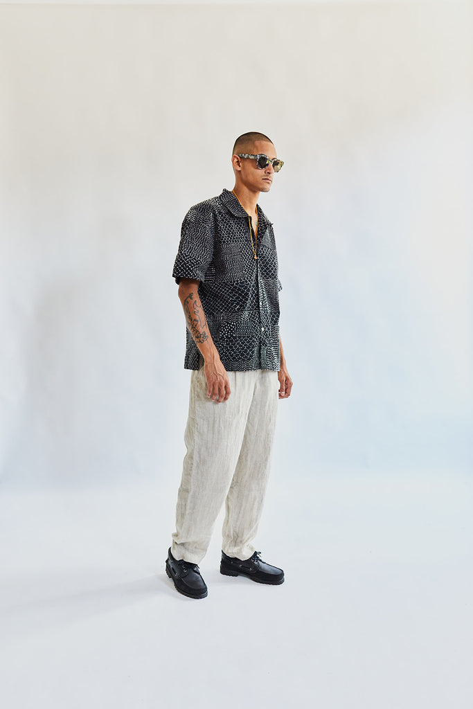 YOUSEF CAMP SHIRT - BLACK PATCHWORK KANTHA RIPSTOP