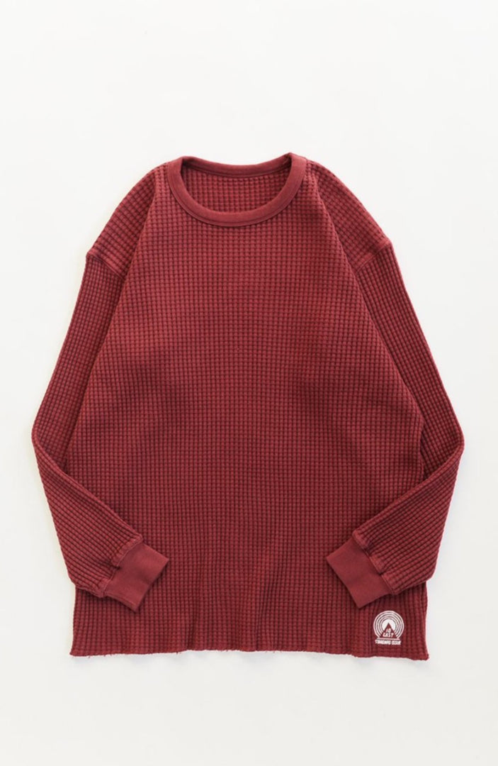 STANDARD ISSUE FOR 18 EAST - BURGUNDY THERMAL CREWNECK
