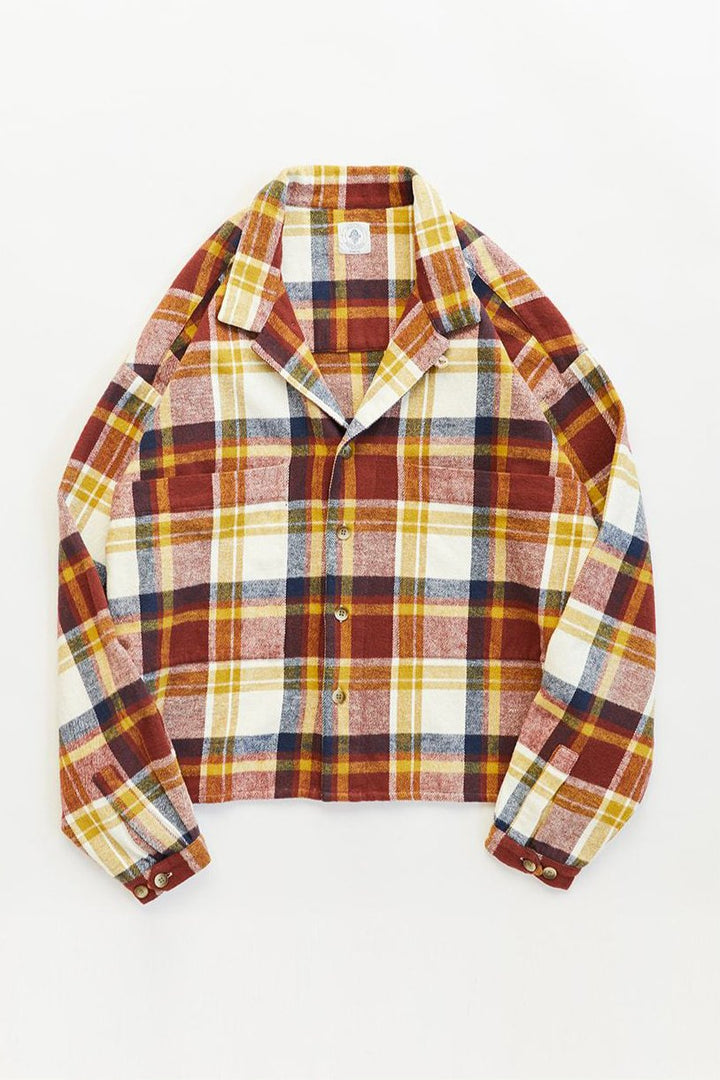 SAM SHIRT JACKET - ECRU / BURGUNDY / NAVY MADRAS MELTON