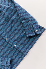 Load image into Gallery viewer, PIONTA CAMP SHIRT - PETROL BLUE MOLLOY & SONS DONEGAL DIAMONDWEAVE TWEED