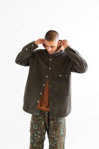 BANGS BUTTON UP SHIRT - FADED FATIGUE GREEN COTTON CORDUROY