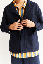 Load image into Gallery viewer, MONTI SHIRT JACKET - NAVY HANDLOOM DIAMONDWEAVE COTTON