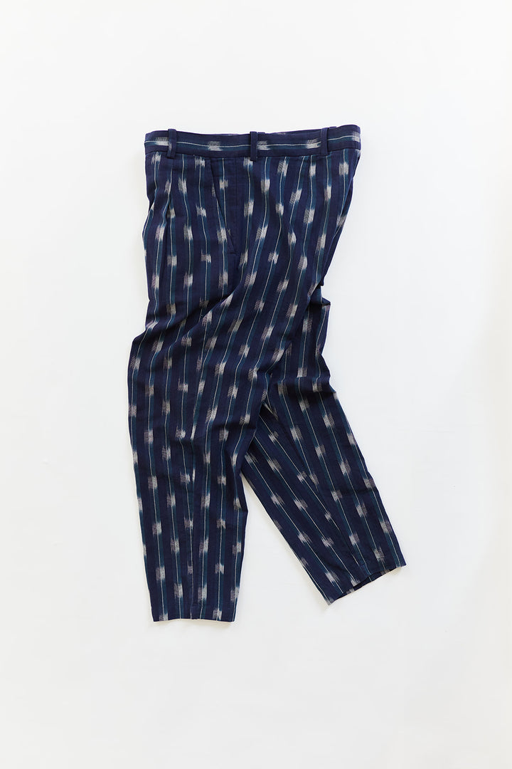 SINGLE PLEAT TROUSER - MIDNIGHT NAVY IKAT