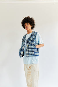 JEREL UTILITY VEST - INDIGO INSIDE-OUT BAGRU PRINTED COTTON