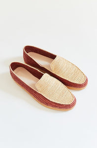 RIAD HANDWOVEN LOAFERS - NATURAL AND CARAMEL RAFFIA