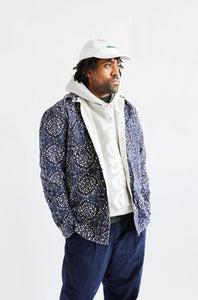 REVERSIBLE CLAREMONT QUILTED JACKET - UNDYED / BLOCK PRINTED RIPSTOP