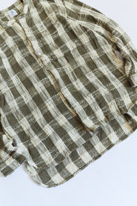 AKC2 KURTA - ARMY / ECRU HANDLOOM COTTON PLAID