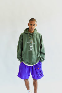 ALLCAPSTUDIO X 18 EAST KINDRED SPIRITS HOODED SWEATSHIRT - ARMY GREEN