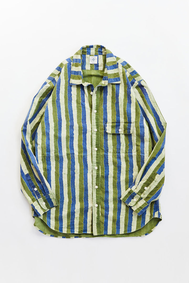 BANGS BUTTON UP SHIRT - INDIGO / ARMY HAND-STRIPED RIPSTOP