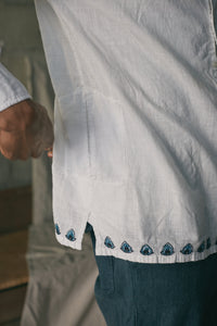 MAHAL BAND COLLAR SHIRT - HAND EMBROIDERED WHITE KHADI