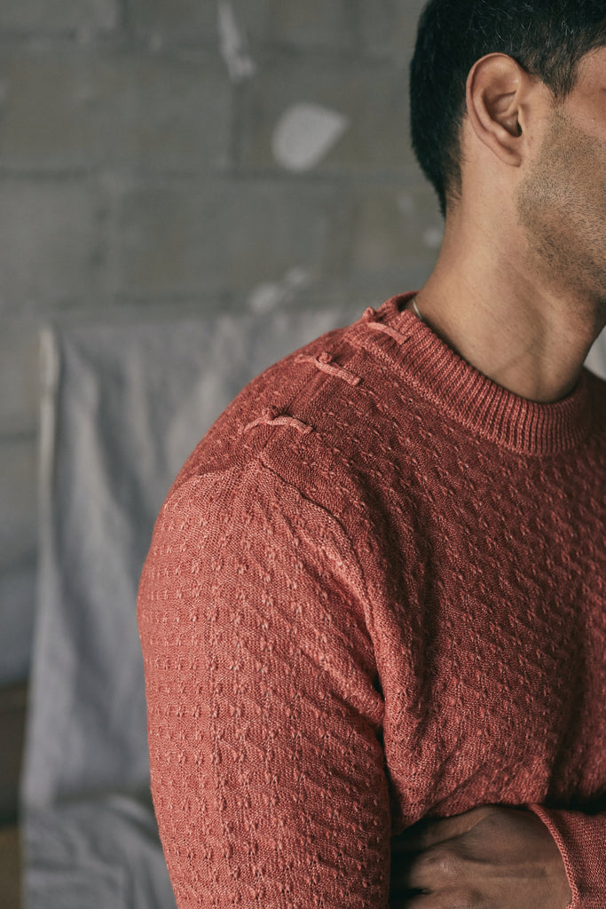 DIHN HEMP CREWNECK SWEATER - BLOOD ORANGE MELANGE