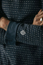 Load image into Gallery viewer, DAWA CREWNECK SWEATSHIRT - KANTHA STITCHED NAVY HEATHER