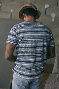 MHONG HAND BLOCK PRINTED POCKET TEE - WHITE AND NAVY