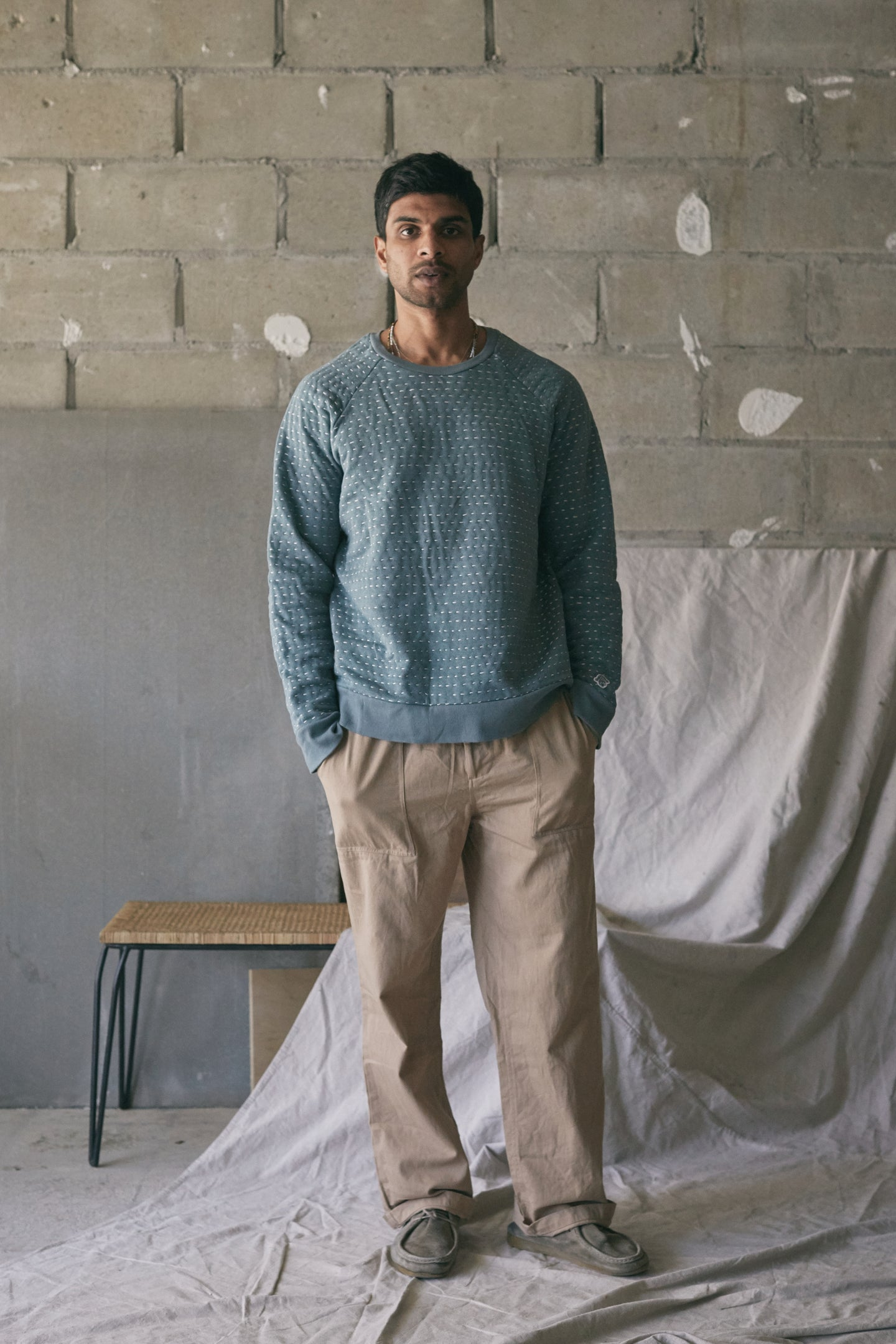 DAWA CREWNECK SWEATSHIRT - KANTHA STITCHED SAGE HEATHER