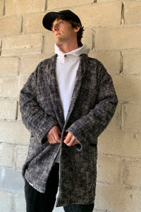 JAMPA COAT - BLACK AND WHITE KHADI COTTON TWEED