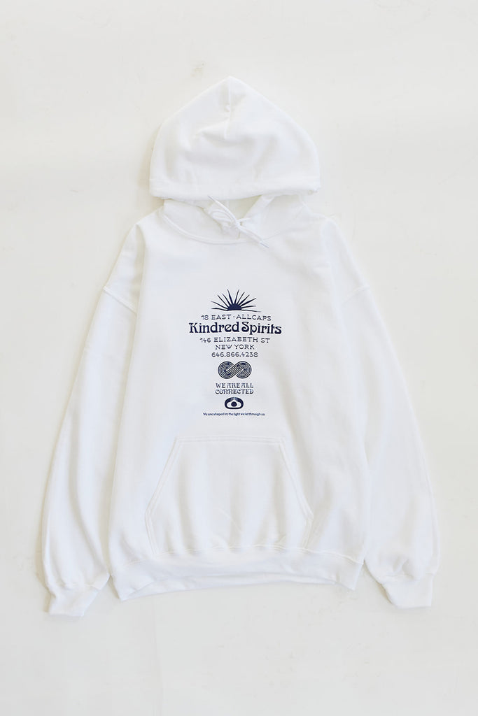 ALLCAPSTUDIO X 18 EAST KINDRED SPIRITS HOODED SWEATSHIRT - WHITE